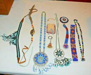 Lot Vintage Native American Ethnic Tribal Beaded Medallion Necklaces Bracelets