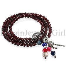 5mm Imitation Garnet Stone Mens Womens Prayer Beads Link Wrist Bracelet Necklace