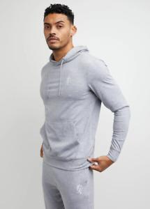 Gym King Mens Grey Marl Hooded Designer Lounge Lightweight Jersey Hoodie Hood