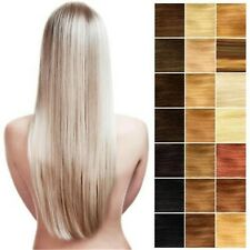Full Head 8PCS Virgin Remy Clip In Real Human Hair Extensions Black Brown Blonde