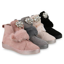Damen Sneakers Kunstfell Sneaker High Strass Freizeitschuhe 819399 Schuhe