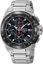 SEIKO Alarm Chronograph SNAA35 SNAA35P1 Black Bezel Stainless Steel 100m Watch