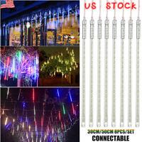 30/50CM LED Lights Meteor Shower Rain Tube Snowfall Outdoor Home Garden Decor US