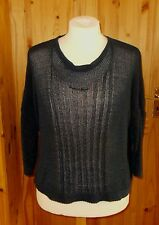 PHASE EIGHT navy dark blue loose knit 3/4 sleeve jumper sweater top M 12-14 42