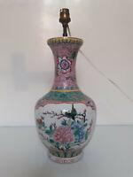 Chine - Vase monté en lampe - Fencai - Porcelaine - Oiseau - Chine - XX siècle