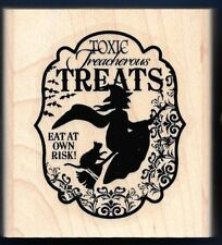 WITCH BROOM CAT TOXIC TREATS Halloween Frame words NEW STAMPIN' UP! RUBBER STAMP