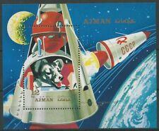 Ajman 1971 ** Bl.326 A Hunde Dogs Weltraum Space Kapsel Capsule Sputnik 2 Rakete