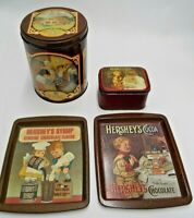 1982 HERSHEY FOODS CHOCOLATE 2 TRAYS & 2 TINS 50 YEARS OF SHARING COCOA