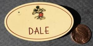 1970s Era Walt Disney World or Disneyland Mickey Mouse DALE employee nametag pin