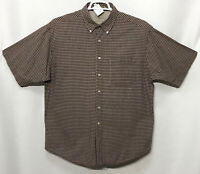 Mens Haggar Large Brown Plaid 100% Cotton Short Sleeve Button Front Shirt
