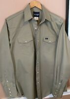 Vintage Wrangler A Tan Heavy Twill 100% Cotton Pearl Snap Button Shirt L NWOT