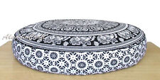 "35X6"" Black & White Elephant Mandala Round Floor Cushion Cover Home Decorative"