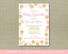 Blush Pink & Gold Baby Sprinkle Printable Baby Shower Invitation Editable PDF