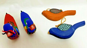 4 Wood Cute Duck Birds Figurine Statue Handmade Ornaments Blue Red