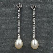 White Pearl Freshwater CZ 925 Sterling Silver Drop Dangle Earrings 08242 New