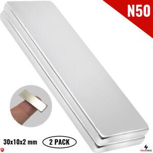 2Pcs N50 30x10x2mm Iman Neodimio Neodymium Magnets Rectangular/Bar Cabinets DIY