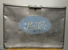 RARE ANTIQUE VINTAGE Pepsi Cola Cronstroms Metal Cooler Ice Box Chest Aluminum