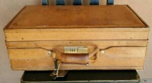 VINTAGE  HARTMANN SUITCASE / LUGGAGE ALL LEATHER GREAT PATINA, BRASS LOCKS