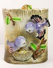 Vintage 1950s Hand Painted Cookie Jar Lefton ESD Japan Nesting Bluebirds on Tree