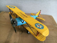 Yellow Tin Vintage Bi Plane Model Ideal For Adults and Children