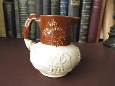 Antique 19th c Stoneware Jug, Hound Handle & Rural Sprigging