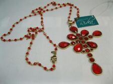 RIVKA Friedman 18k Gold-Clad Red Quartz Crystal Gemstone Cross Pendant Necklace