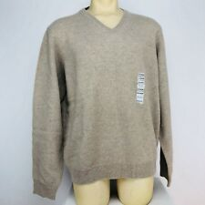 Club Room by Charter Club Mens Long Sleeve V-Neck Sweater Sz XL Beige 100% Wool