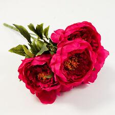 Artificial Silk Peony Flower Bouquet 5 Heads Bunch 3 Colours Wedding Decor