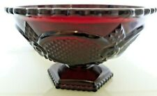 Vintage Avon Ruby Red Cranberry Glass Small Footed Bowl