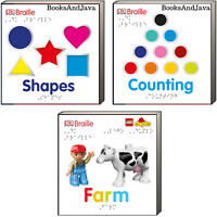 DK Braille Counting, Shapes, LEGO DUPLO Farm by DK (3 Board Book Set)