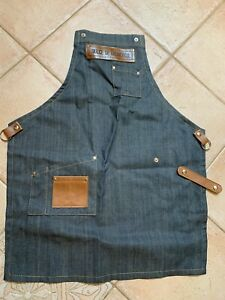 Denim Apron with leather trim (from Argentina) NEW