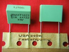 12pc  1uF (1.0uf) 100V 5%  radial poly film box capacitors (grn)