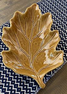 Pottery Barn Leaf Platter Large Fall Oak Leaf Serving Tray Brown Gold 18x11 Dish