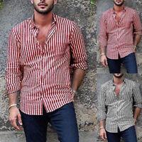 Fashion Men's Striped Long Sleeve Shirts Casual Smart Formal Slim Fit Shirt Top