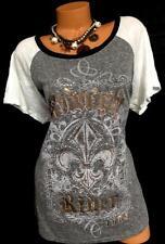 Maurices gray studded Midnight Rider metallic foil fleur de lis jersey top 2 ,2X