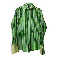 Banana Republic Mens XL Green Striped Long Sleeve Button Down Shirt French Cuffs