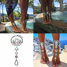 Luxury Crystal Barefoot Sandal Beach Anklet Foot Chain Jewelry Ankle Bracelet UK