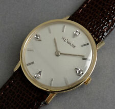 JAEGER LECOULTRE 14K Solid Gold & Diamonds Vintage Gents Watch c1969