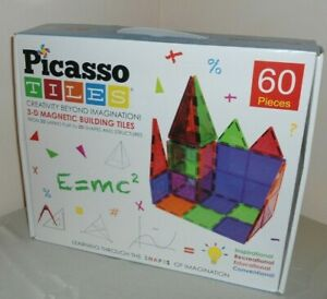 NEW Picasso Tiles Clear 60-Piece 3D Magnetic Building Blocks