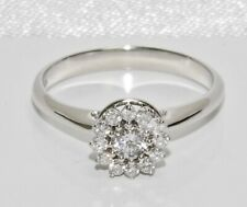 18ct White Gold 0.33ct Diamond Halo Cluster Engagement Ring size L