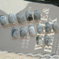 24pcs Grey Marble fingernail tips Short False Nails Acrylic Full Cover Nail Art