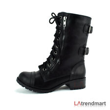 Ladies Military Combat Mid Calf Boots Lace Up Zipper Soda Dome-A Black Tan Brown