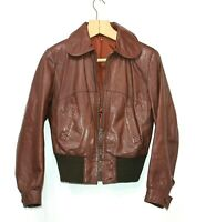 MALUNGS Sweden 70s Vintage Retro Brown Soft Leather Bomber Jacket Women UK 10 12