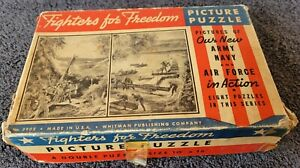 Whitman Fighters for Freedom Double Picture Puzzle Army Navy Air Force Action