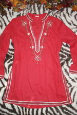 Stunning Coral Pink Embroidered Long Sleeve Tunic Blouse Size L, Bollywood, boho