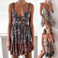 Women's Sexy Boho Strappy V-Neck Floral Mini Dress Beach Backless Sundress Plus