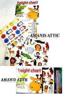 Children Kids Height Chart Jungle Giraffe Animal Design Included 40 Stickers