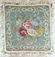 Vintage Needlepoint Aubusson Pillow - Petit Point - Wool Blue Floral Handmade