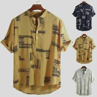 Men's Cotton Linen Printed Stand Collar Short Sleeve Henley Shirts Baggy Top US