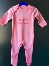 Personalized Baby Sister Baby Grow, Outfit, Bodysuit, Gift for New Baby Girl